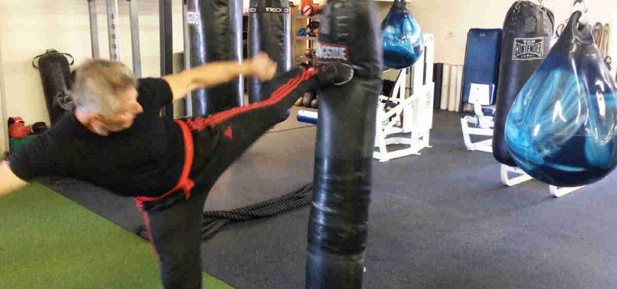 Side Kick On Muay Thai Heavy Bag