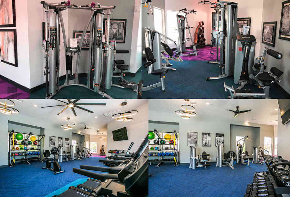 fitness center displaying weight equipment and cardio equipment